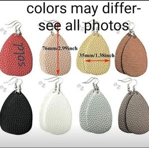Faux leather lightweight Dangle Earrings-7 pair